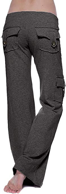 Insenver Wide Leg Sweatpants with Muti Pockets for Womens