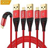 【3本セット2M】TOPK USB Type C ケーブル QC3.0急速充電 USB2.0データ転送 高耐久ナイロン 断線防止 金メッキコネクタ USB 充電ケーブルS8/S9/S8+、Huawei、Xperia各種 その他USB-C機器対応タイプCケーブル USB-A to USB-C(レッド)