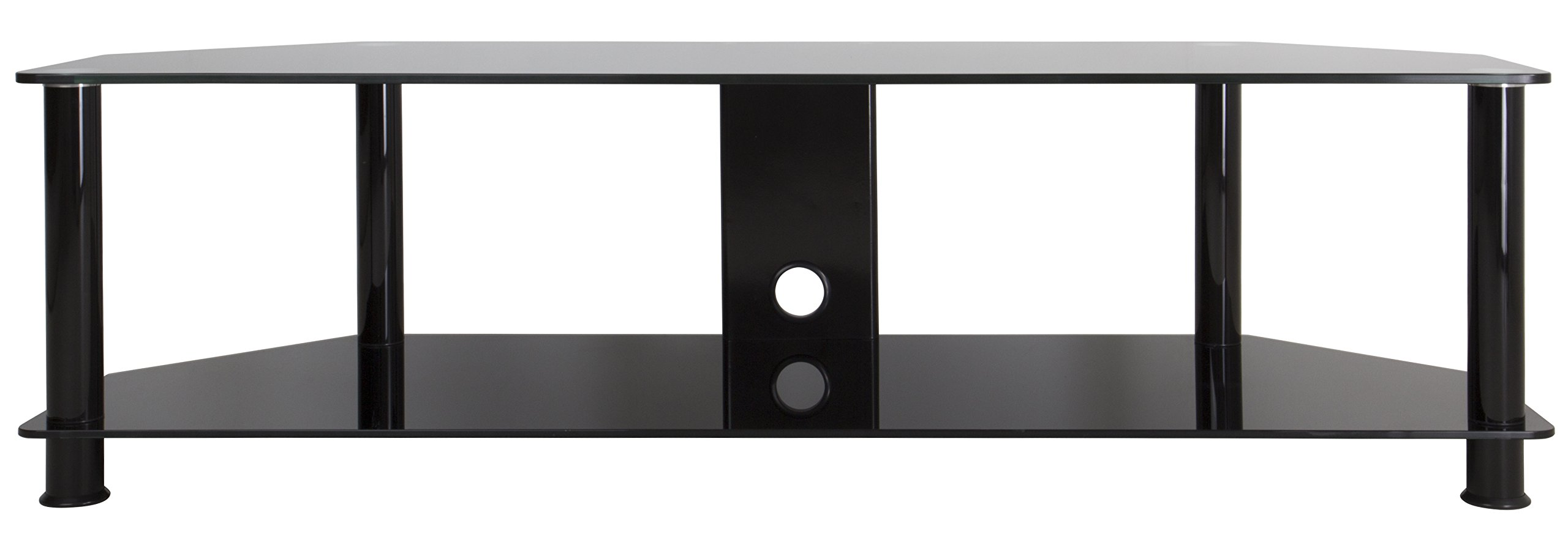 AVF SDC1400CMBB-A TV Stand with Cable Management for up to 65-inch TVs, Black Glass, Black Legs by AVF