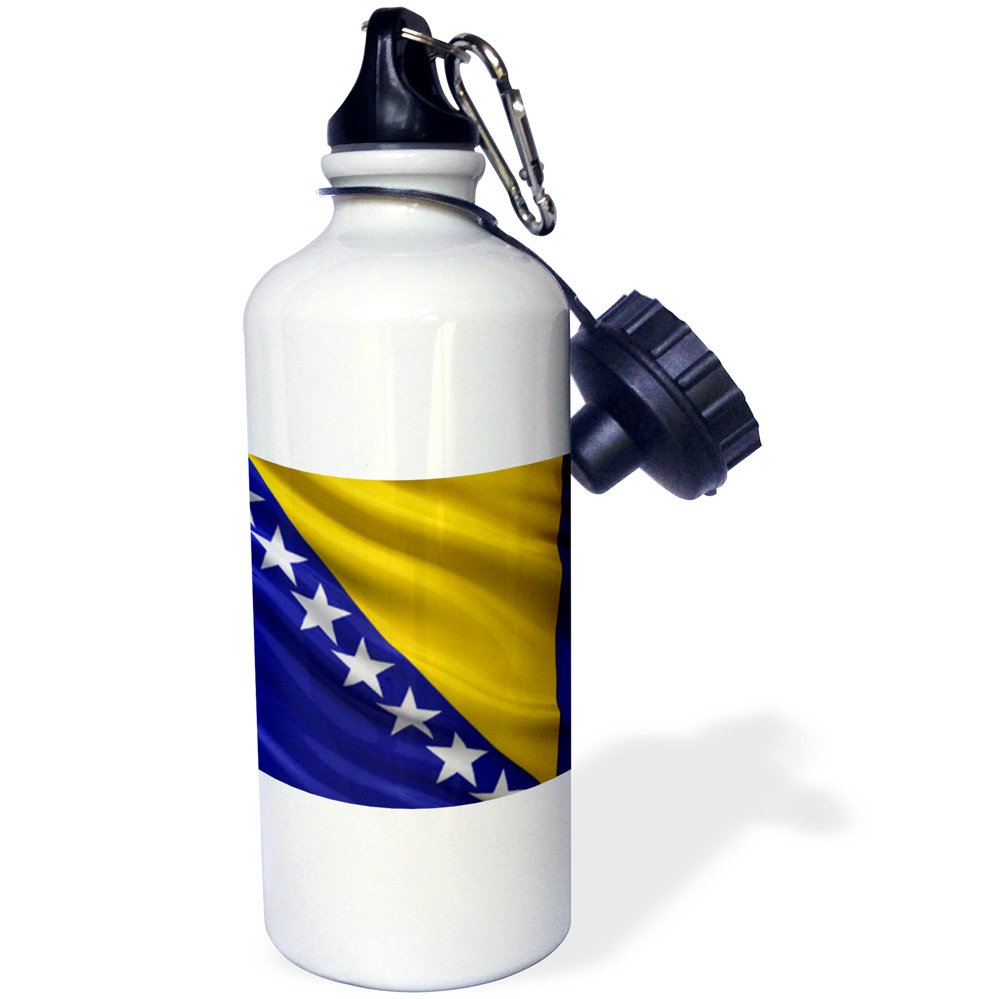 3dRose wb/_180013/_1 Flag of Bosnia and Herzegovina waving in the wind Sports Water Bottle 21oz Multicolored