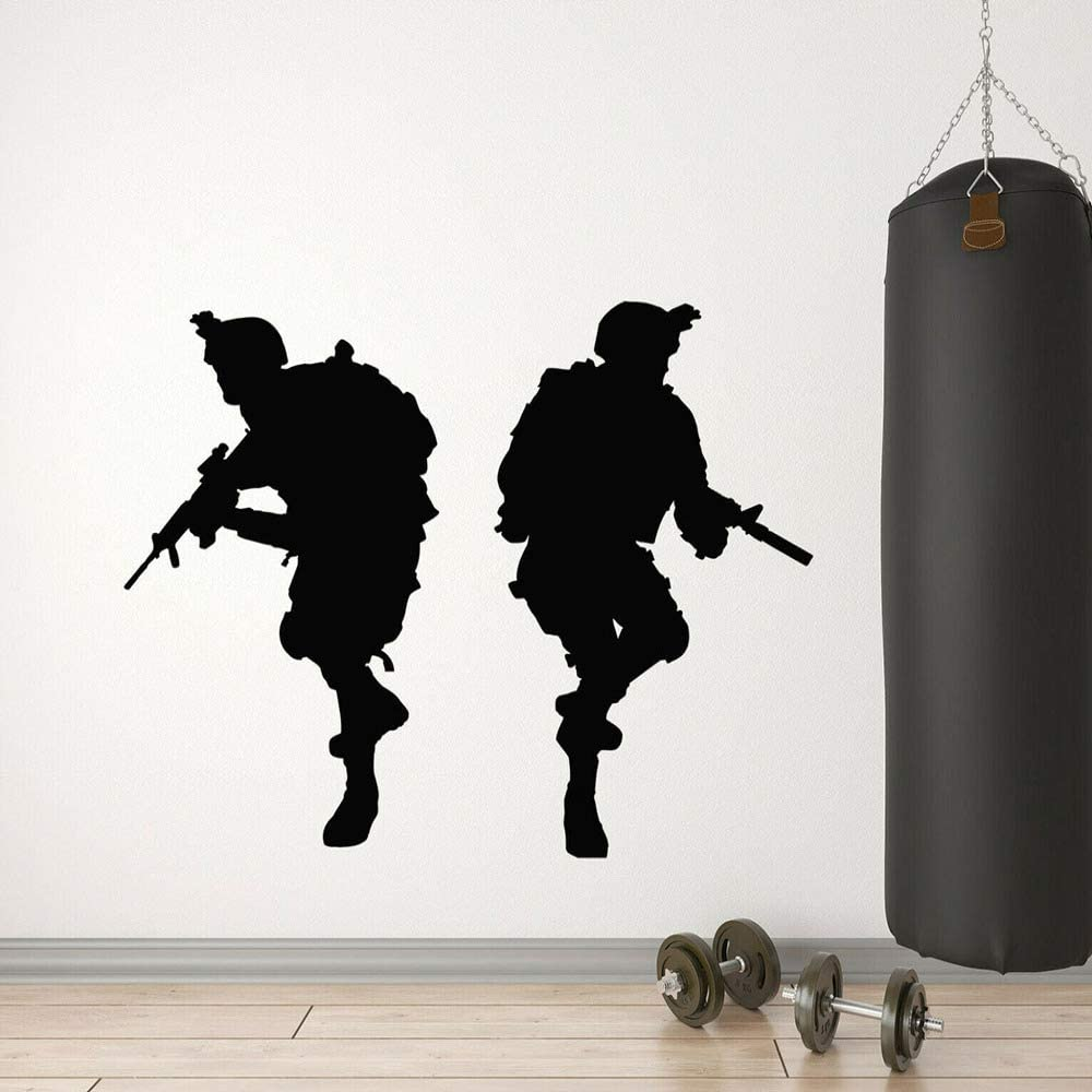Nom avec un salon de Soldat Mur Art enfants chambre autocollant vinyle personnalisé