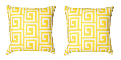Amazon Com Pair Of Bright Yellow And White Greek Key Print In