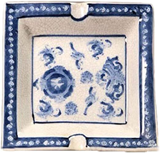 Amazon Com Ashtray Hand Painted Blue And White Open Ceramic