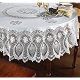 """Vinyl Lace Tablecloth - 70"""" Round Faux Embroidered Lace Plastic Table Cover is Reusable and Protects from Scratches and Spills"""