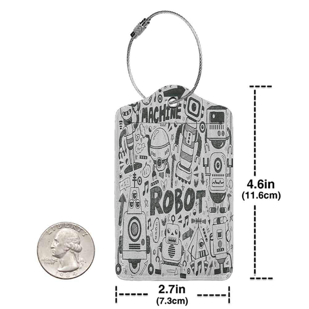 Soft luggage tag Black and White Futuristic Space Doodle Style Androids Hand Drawn Pattern Art Print Bendable Pearl Charcoal Grey W2.7 x L4.6