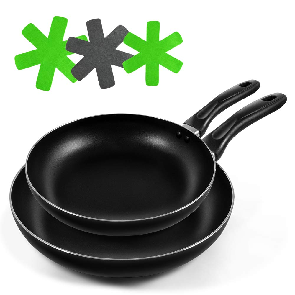 Mastertop 2 Piece Nonstick Frying-Pan for Kitchen 8 Inch and 10.4 Inch Induction Compatible Bottom with 3Pcs Pan Protectors