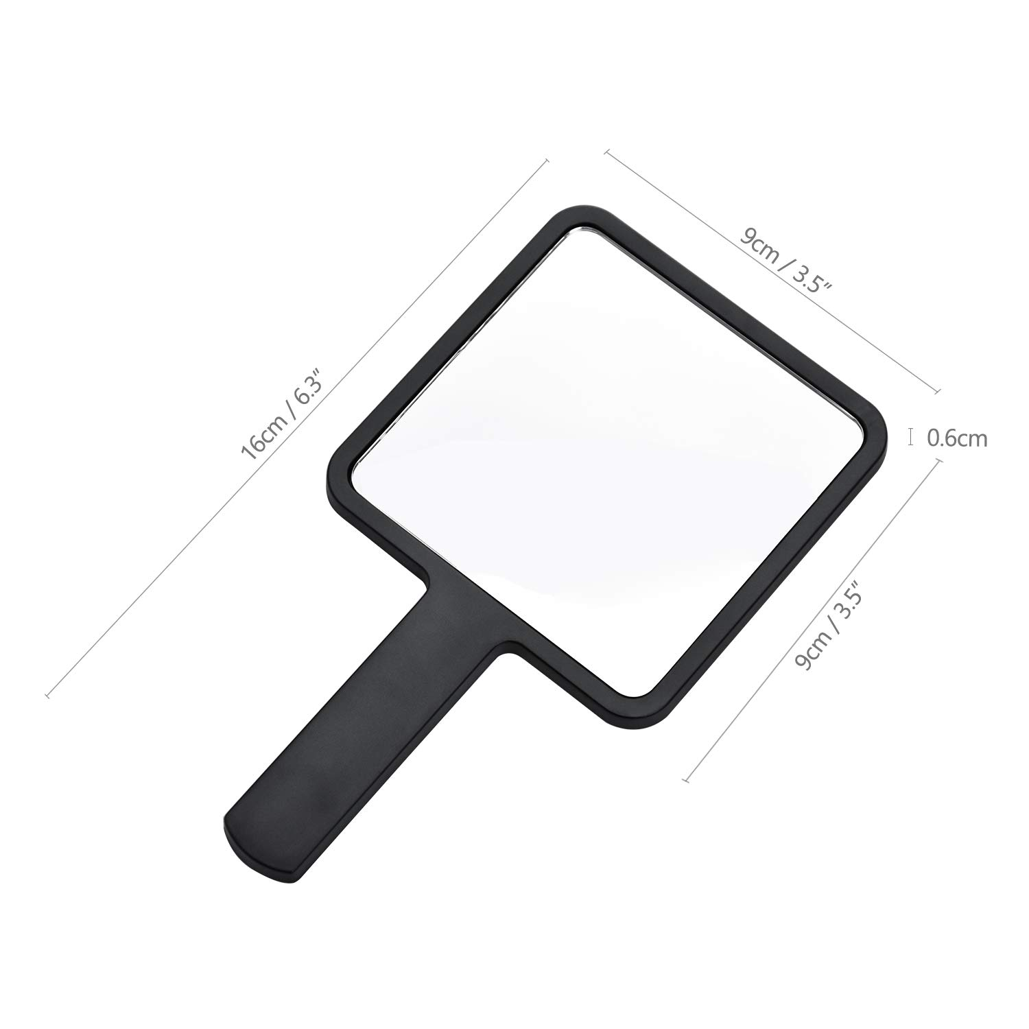 Makeup COCOCITY Hand Mirror with Handle in Black for Hairdressers Salons and Barbers Travel 9 x 16cm Home