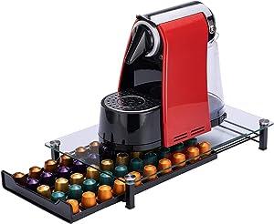Odd Easy Coffee Pod Storage Holder Capsules Originaline Nespresso Pods Storage Drawer Organizer with Crystal Tempered Glass Top (50 Pods Capacity)