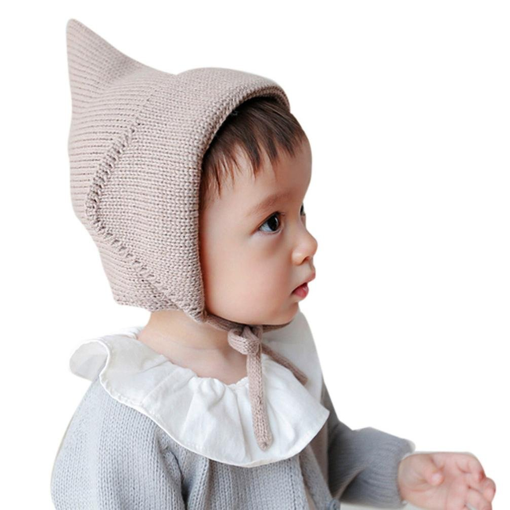 Hffan Baby Kleinkind Junge Mädchen Kappe Gestrickt Häkeln Einfarbig Mütze Winter Warm Kappe Hüte & Mützen Hffan Baby Neugeborene nette Mode behalten Mädchen Jungen Wintermütze