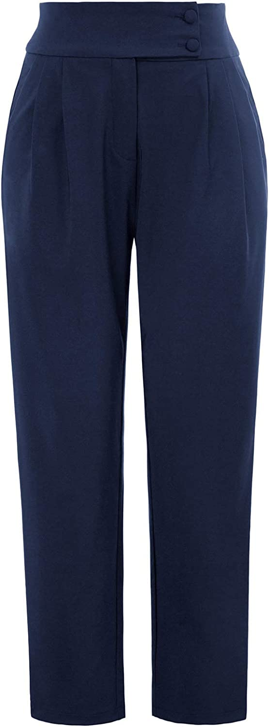 GRACE KARIN Women's Casual Work Cropped Pant Pocket High Waist Button Trouser Pants
