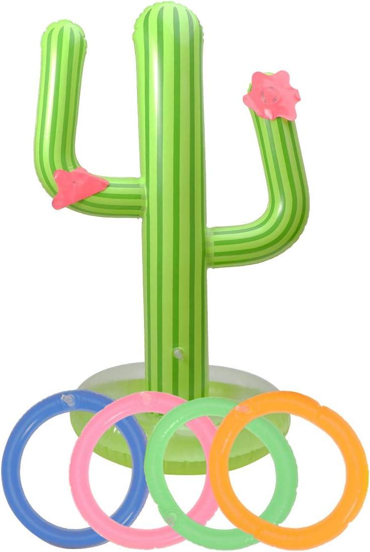 TOYANDONA Juego de Lanzamiento de Cactus Inflable niños Juguetes para Adultos en la Piscina de la Playa (Verde 62 cm)