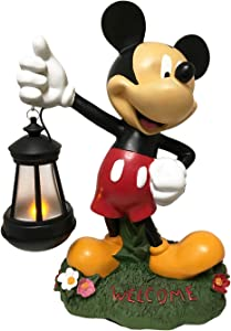 The Galway Company Garden Statue Solar LED Lighted Lantern. Classic Mickey Mouse, Hand-Painted. Large 12.5 Inches Tall, Official Disney Licensed Product