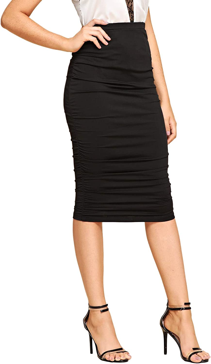 SheIn Women's Solid High Waist Ruched Frill Bodycon Stretch Ruffle Midi Pencil Skirt