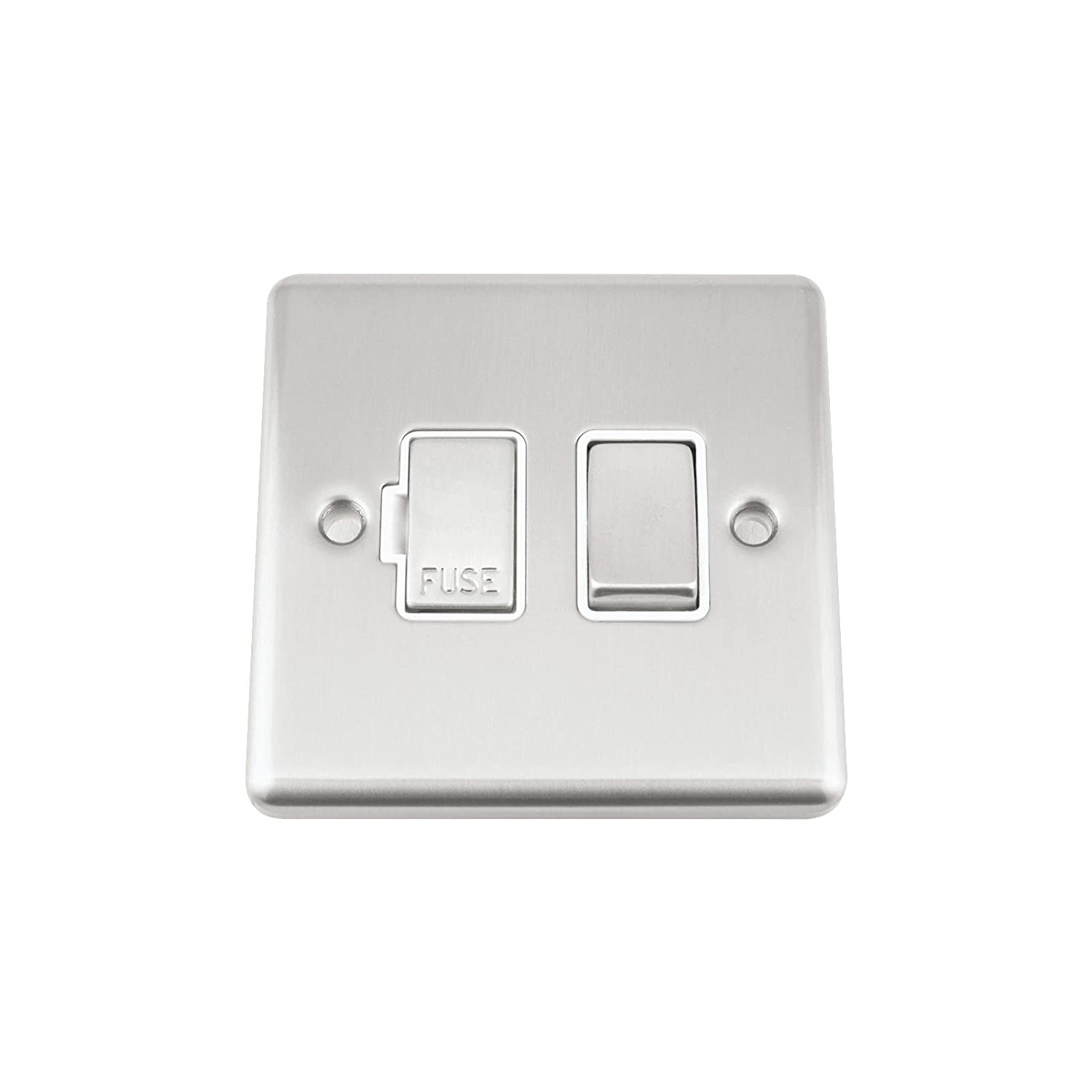 Classic Style new Satin Matt Brushed Chrome A5 Switched Fused Spur White Insert Metal Rocker