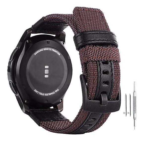 Amazon.com: 24mm Genuine Nylon & Leather Watchband Quick ...