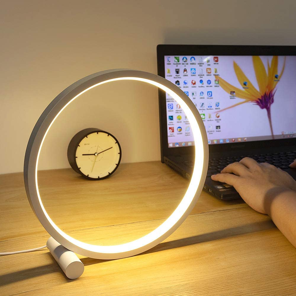 Led Table Reading Lamp Desk Light USB Cable, Modern Minimalist Bedside Lamp Aluminum Metal Circle Eye Caring Kids Study Light for Bedroom Nightstand Living Room Office Headboard Warm White: Home Improvement