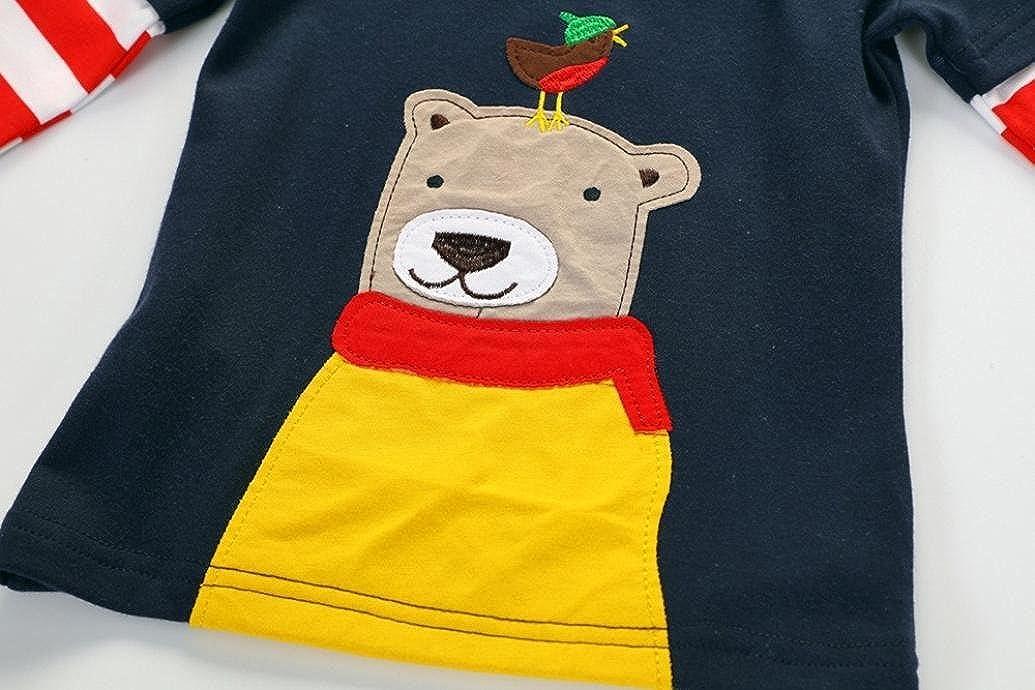 kaiCran Children Kids Boys Cotton Autumn Tops Long Sleeved Cute Cartoon Bear Print Blouse Clothes