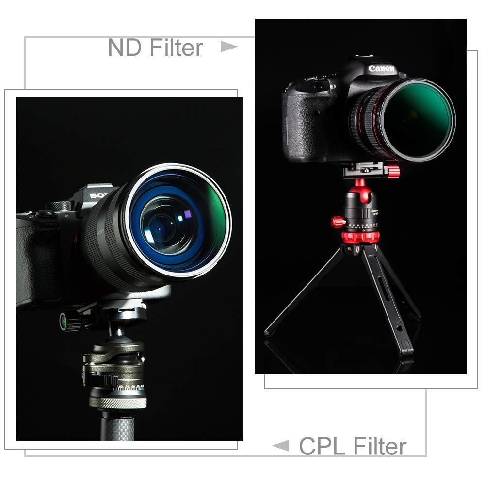 K/&F Concept Juegos 52mm Filtro de Densidad Neutra ND8 ND64 y Filtro Polalizador Slim Vidrio con 18 Capas Nano-X MRC Recubrimiento Multirresistente y Funda