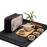 JKCOM Chinese Kungfu Tea Set / Portable Travel Tea Set with a Travel Bag Dragon Pattern (4 Cups)