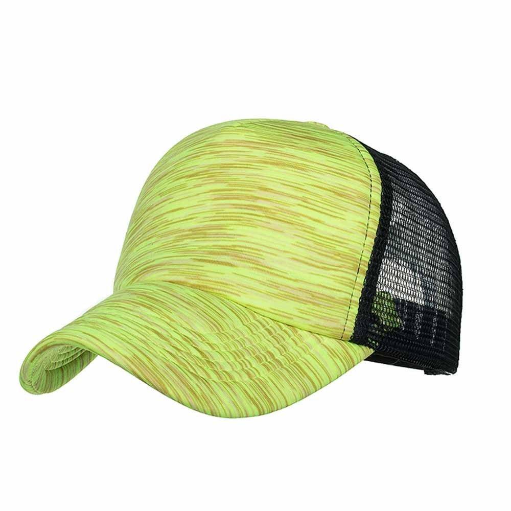 Sunyastor Summer Cap Camouflage Mesh Hats for Men Women Casual Hats Hip Hop High Bun Ponytail Adjustable Baseball Caps (A Yellow, One Size)