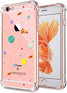 iPhone 6S Case Clear, Crystal Clear with Design Cute Funny Outer Space Galaxy Bumper Protective Case for Apple iPhone 6 6S 4.7 Inch Soft Flexible TPU Silicone Slim Shockproof Science Universe Cover