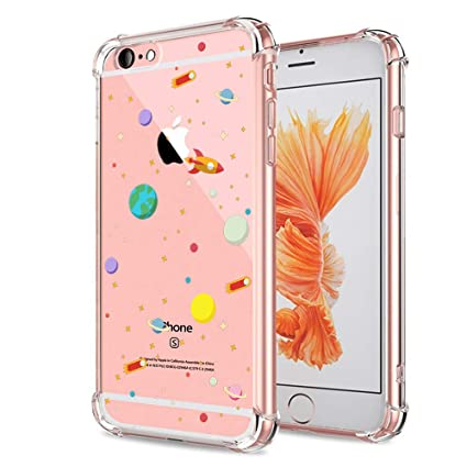 buy online 28e0b d8dc4 iPhone 6S Case Clear, Crystal Clear with Design Cute Funny Outer Space  Galaxy Bumper Protective Case for Apple iPhone 6 6S 4.7 Inch Soft Flexible  TPU ...