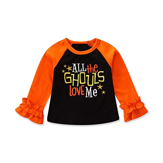 Paisdola Camisetas para niñas Tops de Manga Larga Ropa de Navidad para Halloween Traje: Amazon.es: Ropa y accesorios