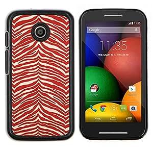 Caucho caso de Shell duro de la cubierta de accesorios de protección BY RAYDREAMMM - Motorola Moto E - Modelo de la cebra Wallpaper Red White Stripes