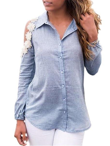 Tayaho Camisa De Manga Larga Mujer Camisetas Sin Tirantes Blusa De Elegante Casual T Shirt Costura Encaje Tops Joven Bonitas Camisa Ocasionales: Amazon.es: ...