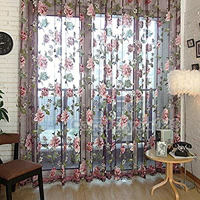 Floral Tulle Voile Door Window Curtain Drape Panel Sheer Scarf Pretty Valances