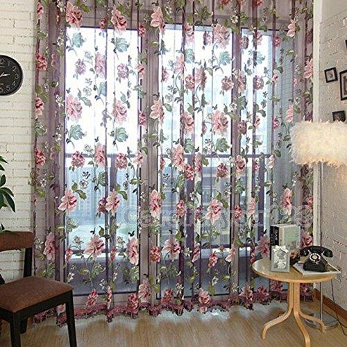 Ainest Romantic Floral Tulle Voile Door Window Curtain Drape Panel Sheer Scarf Valances Purple1M*2M/39.4