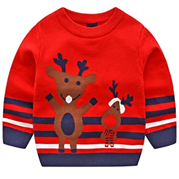 faa756add44a3 JiAmy Bébé Noël Pull Sweat-shirt Tricoté Hiver Chandail Manche Longue Cerf  Tenues Rouge 1