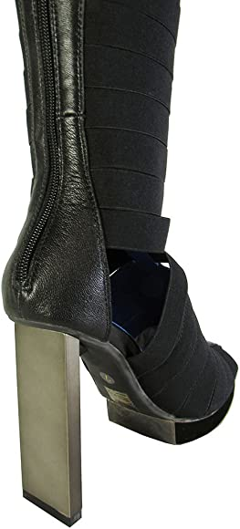 Jeffrey Campbell Cicero Knee High Navy Suede Platform Thick heel Dress Boots
