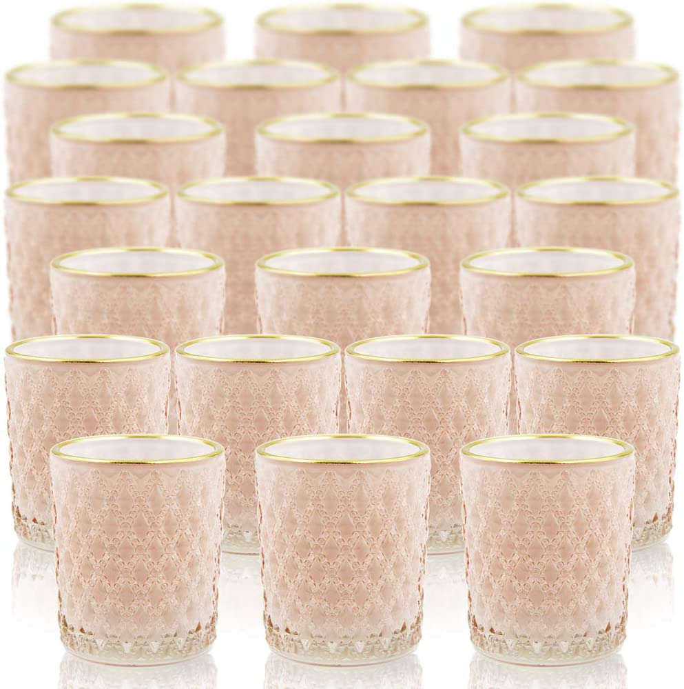 SHMILMH Pink Glass Candle Holder with Gold Line Set of 24, Tealight Holders Bulk, Votive Candle Holders, Tea Candle Holder for Table Centerpiece, Wedding, Thanksgiving Decoration, Home Decor