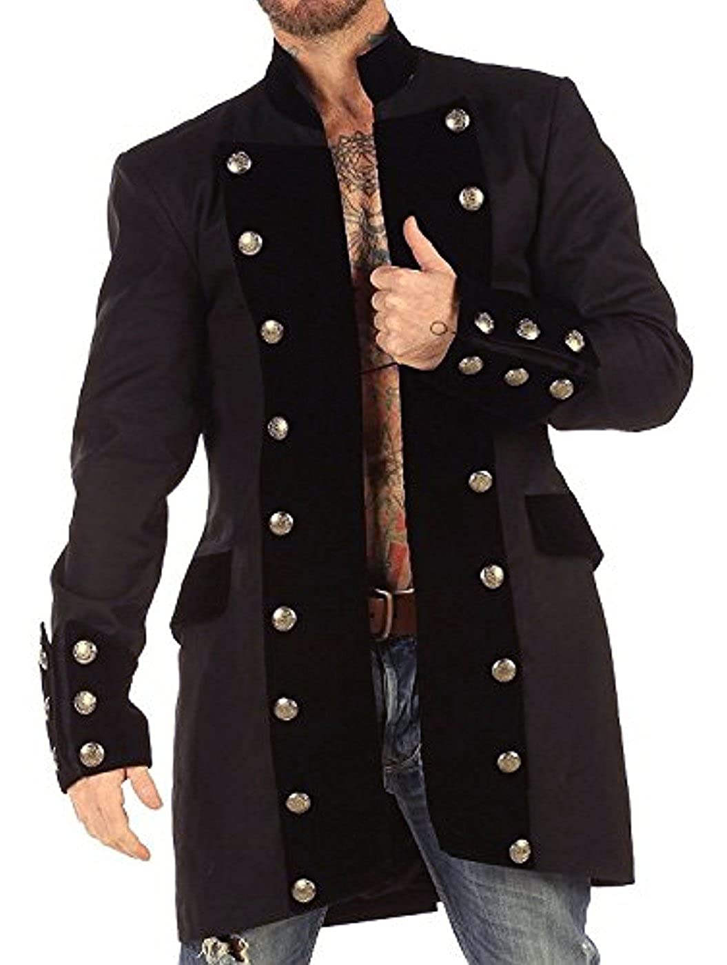 4bd000d1fe5 Men's Historical French Military Black Velvet Trim Charcoal Cotton Pirate  Coat - DeluxeAdultCostumes.com