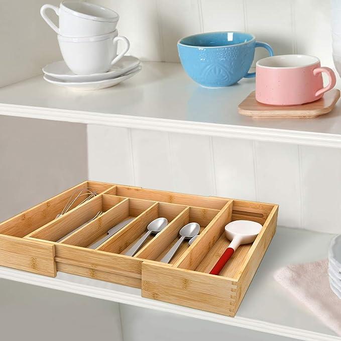 oficina Organizador de cajones de madera de bamb/ú dormitorio y cocina caj/ón organizador bandeja Divisores multifuncionales para ahorrar espacio para maquillaje