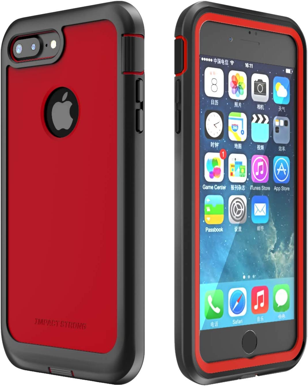 ImpactStrong iPhone 7 Plus/iPhone 8 Plus Case, Ultra Protective Case with Built-in Clear Screen Protector Full Body Cover for iPhone 7 Plus/iPhone 8 Plus (Red)