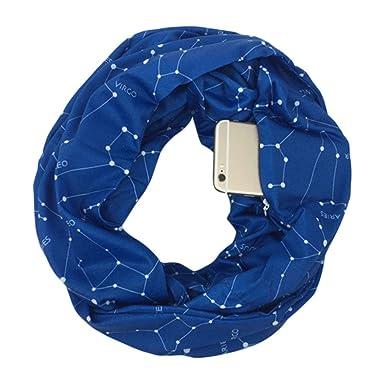Lunji Écharpe de Poche Secrete avec Zippée pour Randonnée Shopping Voyage  Cyclisme (Bleu)  Amazon.fr  Vêtements et accessoires fa778f3d08c