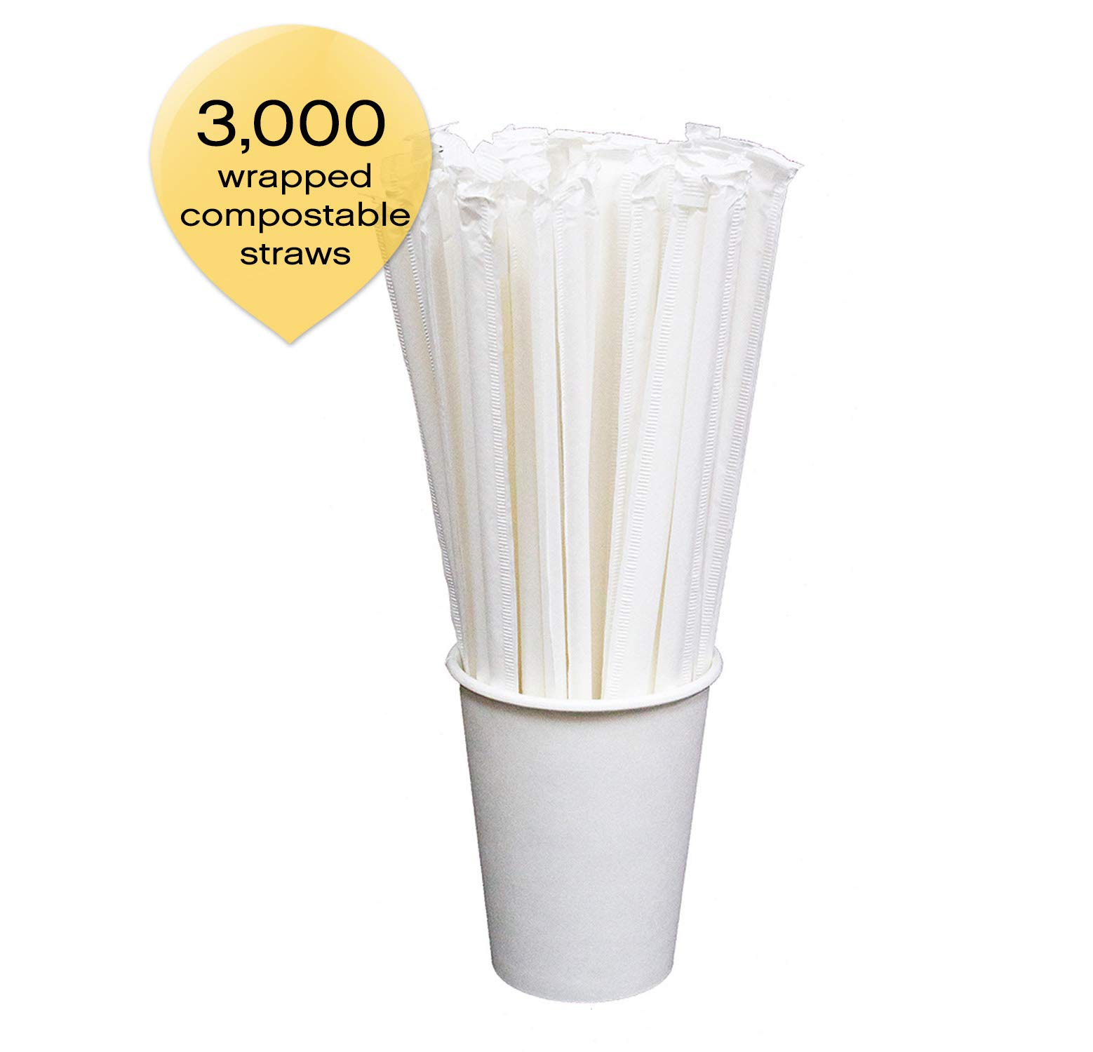Sophistiplate Foodservice Box Of 3000 White-Wrapped Compostable Paper Drinking Straws 7.75'' X .228'' Diameter, Durable And Eco-Friendly Bulk Paper Straws