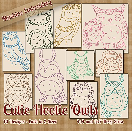 Cutie Hootie Owls Redwork Embroidery Machine Designs on CD - Multiformat