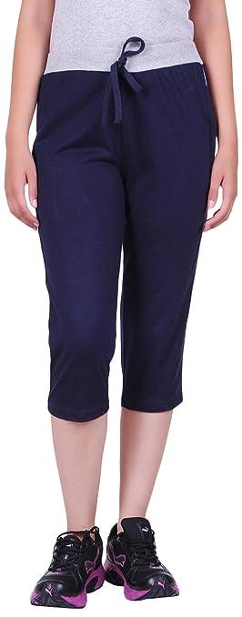 DFH Women's Cotton Capris Blue Women's Sports Trousers at amazon