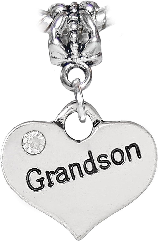 Grandma Heart Grandmother Rhinestone Dangle Bead Charm for European Bracelet