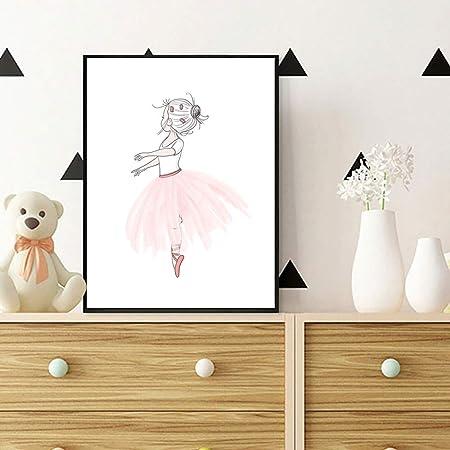 Jtm Nordique Style Enfants Décoration Ballet Affiche Cygne Rose Mur Art Toile Peinture Affiches Et Estampes Bébé Fille Chambre Décor Sans Cadre