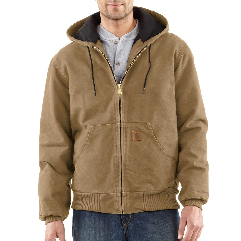 Carhartt Men's Quilted Flannel Lined Sandstone Active Jacket J130,Frontier Brown,Large