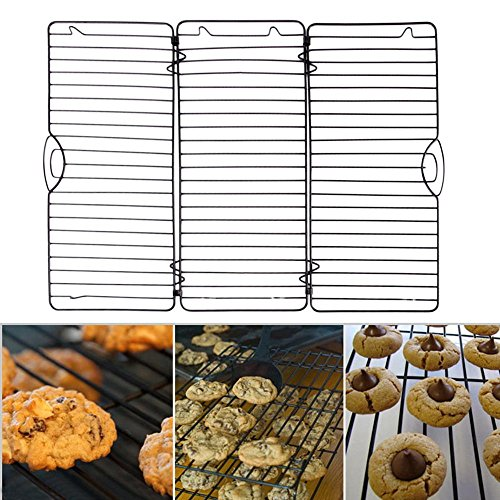 EXPAND & FOLD Steel Baking Tray Dish Muffin Cake Biscuit Pan Bakeware Cooling Rack Wire Cookie Cake Food