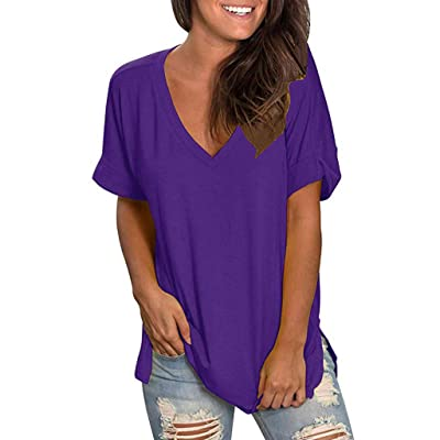 Women's T Shirts Short Sleeve V Neck Loose Casual Basic Tee Tops Summer T-Shirt Tunic Tops Blouse: Clothing
