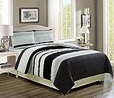 KingLinen Bradenton Black/Gray Reversible Bed in a Bag w/500TC Cotton Sheet Set Queen
