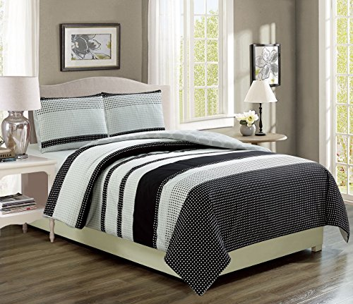 KingLinen Bradenton Black/Gray Reversible Comforter Set Twin Extra Long