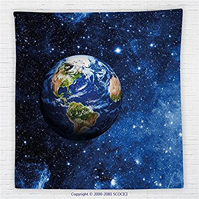 59 x 59 Inches Space Fleece Throw Blanket Decor Outer View of Planet Earth in Solar System with Stars Life on Globe Themed Image Blanket Blue Green