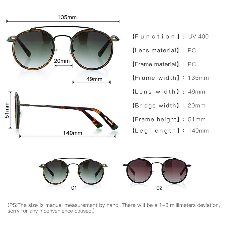 Amazon.com: Retro Fashion Round Glasses UV400 Metal Acetate ...
